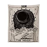 Tarot Tapisserie Lune Loup Motif Tenture Tapisserie Astrologie Lune Motif Tapisseries Murales Hanging Utilisé Pour Chambre Dortoir Mur Tissus Artistes Décoration (150x130cm)