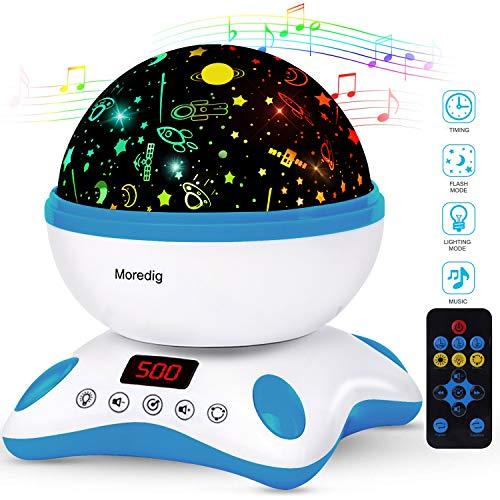 Moredig Música Lampara Proyector Estrellas Bebé, 360° Rotación con Control Remoto, Romántica...