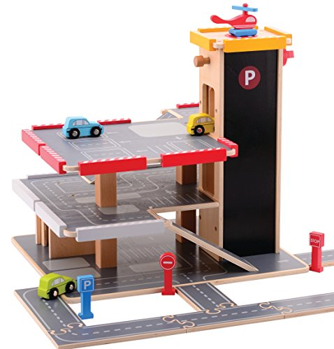 jumini Wooden Toy Multi Storey Car Park and Garage includes Toy Cars and Accessories