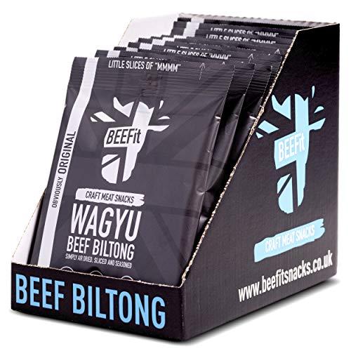 BEEFit Wagyu Biltong , Premium Wagyu Beef, High Protein, Low Sugar Healthy Snack. Original - 10 x 25g Bags