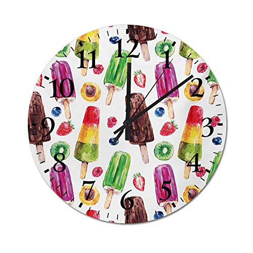 Homesonne DIY Wall Clock Yummy Cute Vivid Ice Creams with Fruit and Chocolate Flavors Kiwi Watercolor Design 3D Numbers Wall Clock Running Smoothly, Accurately and Quietly Multicolor 9.8 Inch