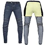 Takuey Men's Motorcycle Motorbike Riding Jeans with Lining CE Approved Overpants (XXL=36=Waist 38') Blue