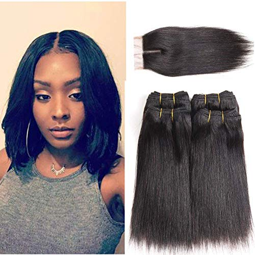 Peenoll Brazilian Sewn in Wigs Hair Bundles with Closure Straight Virgin Human Hair Weave Sew in Hair Weave with Closure 230g(8 8 8 8 with 8)