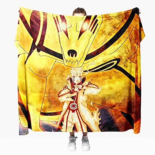 Mantas para Sofa Anime Naruto 100 × 130 cm, Mantas para Cama de Franela Reversible, Mantas Ligeras de 100% Microfibra - Fácil De Limpiar - Extra Suave Cálido