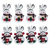 8pcs Set cocina cubiertos traje cubiertos titulares bolsillos cuchillos tenedores bolsa con forma de muñeco de nieve Navidad decoración de fiesta D ¨ ¦ cor