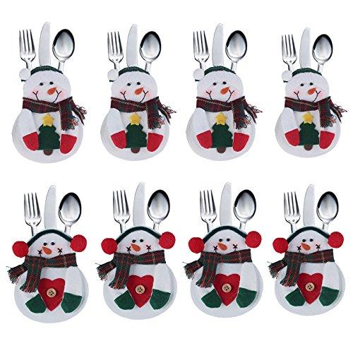 Coofit 8-Confezione di panni di servizio per Natale, motivo: pupazzo di neve, per coltello, forchetta e cucchiaio