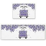OPLJ Lavanda Púrpura Flores Hojas Alfombra Retro Alfombrillas de Cocina para Salas de Estar Alfombras de Puerta Decoración de Entrada Alfombra de Piso Alfombra A15 40x60cm
