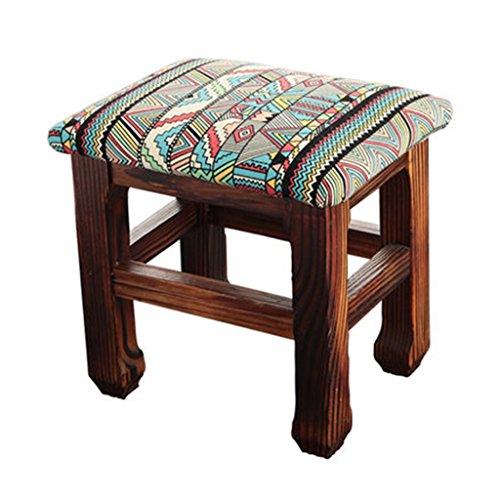 Meng Wei Shop Wohnzimmer Holzstuhl Stoffkissen Kiefer Hocker Beine einfach wild einfach zu verwirklichen 26 × 20 × 25 cm (Color : #4)