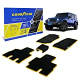 Goodyear Custom Fit Car Floor Liners for Jeep Wrangler 2014-2018, Black/Yellow 5 Pc. Set, All-Weather Diamond Shape Liner Traps Dirt, Liquid, Precision Interior Coverage - GY004125