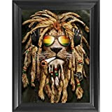 Rasta Pot Head Lion 3D Poster Wall Art Decor Framed Print | 14.5x18.5 | Lenticular Posters & Pictures | Memorabilia Gifts for Guys & Girls Bedroom | Hippie Trippy Marijuana & Weed Psychedelic Picture