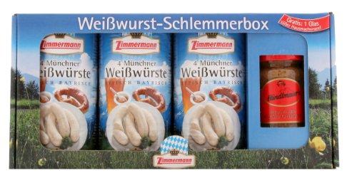 Zimmermann - Weißwurst Schlemmerbox inkl. Gratis-Senf inkl. Geschenkverpackung (3 Dosen & süßer Senf)