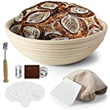 VOLADOR 9 inch Bread Proofing Banneton , Round Dough Bowl Proving Rattan Baskets for Sourdough with...