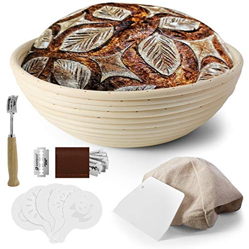 VOLADOR 9 inch Bread Proofing Banneton , Round Dough Bowl Proving Rattan Baskets for Sourdough with Linen Liner & Scraper & Razor Blades & Stencils