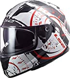 LS2, Casque intégral moto, Stream Evo Tacho, blanc noir rouge, M