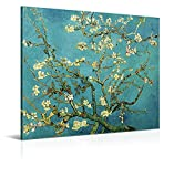 Cuadro Almendro en Flor de Vincent van Gogh - 100 x 80 cm - Decoración Moderna para Salón y Dormitorio, Lienzo de Poliéster y Bastidor de Madera, Multicolor, LEN-109