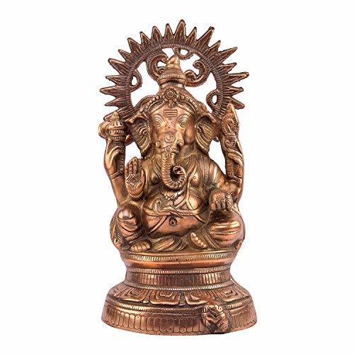 Brown Marron en métal Ganesh Ji Statue, Marron, Taille : 17,8 x 12,7 x 35,6 cm