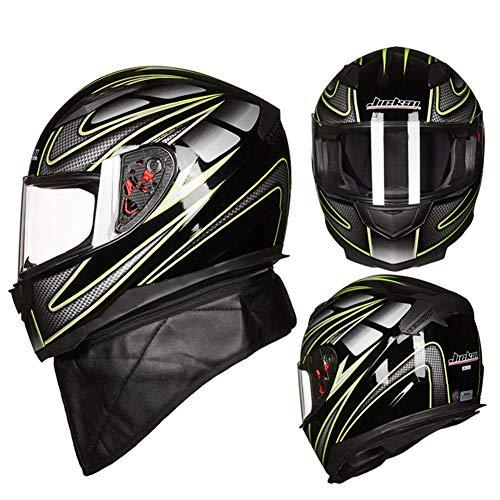 ACC Full Face Motorhelm, transparante zonneklep, voor mannen en vrouwen, paardrijden of fietsen, sportbeschermingshelm met kraag