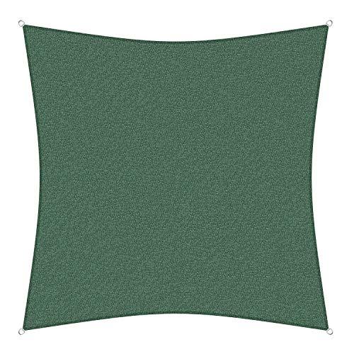 sunprotect 83265 Professional Sonnensegel, 3,6 x 3,6 m, Quadrat, Wind- & wasserdurchlässig, grün