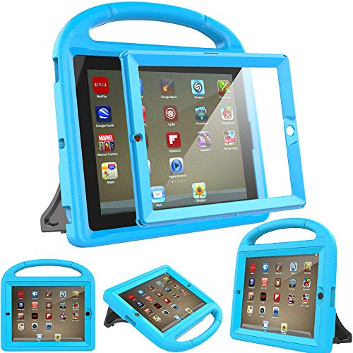 Surom Kids Case for iPad 2 3 4 (Old Model)- Built-in Screen Protector, Shockproof Handle Stand Kids Friendly Protective Case for iPad 2nd 3rd 4th Generation, Blue