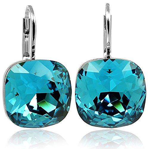 Ohrringe Blau mit Kristallen von Swarovski® Silber Petrol NOBEL SCHMUCK