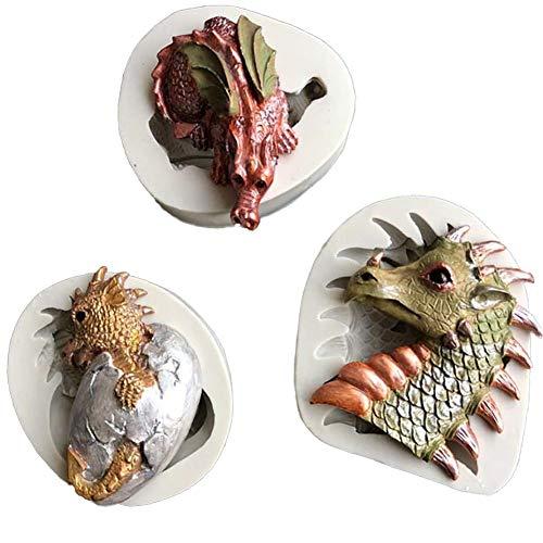 DUBENS 3-Set Drachen Dinosaurier Osterei Fondant Kuchen Silikon Formen Cupcake Mould Werkzeuge Gebäck Küche Backen Schokolade Confeitaria Schablone