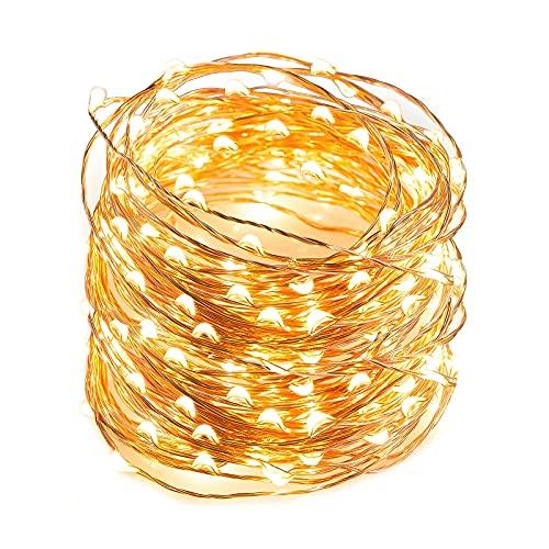 10M Lichterketten für Außen & Innen -100 LED Warmweiß Kupferdraht Lichterkette mit Schalter, Wasserdicht IP65 für Party, Hochzeit, Weihnachten, Schlafzimmer