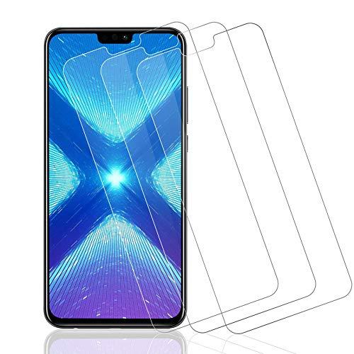 Wiestoung - Protector de pantalla de cristal templado para Huawei Honor 8X, [2.5D Borde] [Antirayaduras] [Sin burbujas] [Transparente HD] Protector de pantalla para Huawei Honor 8X-3 piezas