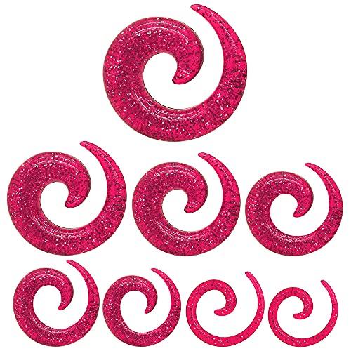tumundo Dilatatore Spirale Brillante Taper Piercing Orecchio Tappo Acrilico Tunnel Plugs Glitter Trasparente Rosa Set