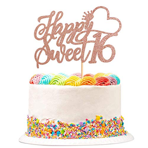 Unimall Rose Gold Glitter Sweet 16 Cake Toppers Lovely 16 Birthday Party Decorations Cupcake Topper with Crown for Sweet 16 Birthday Cheers to 16 Party Decoration Supplies