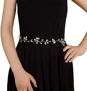 LUKEEXIN Women's Belt Bridal Accessories Hand-Knit Wedding Dress Bridal Belt (Color : Champagne)