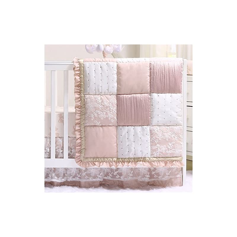 crib bedding and baby bedding grace 4 piece baby girl dusty pink floral layered patchwork crib bedding set
