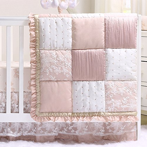 Big Save! Grace 4 Piece Baby Girl Dusty Pink Floral Layered Patchwork Crib Bedding Set
