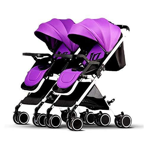 HYDDG Kinder Dreirad, Faltbar Zwilling Baby Kinderwagen, tragbar Doppelt Kinderwagen Einstellbar Rückenlehne Abnehmbar Ultra Licht Schock Tandem Kleinkind Wagen