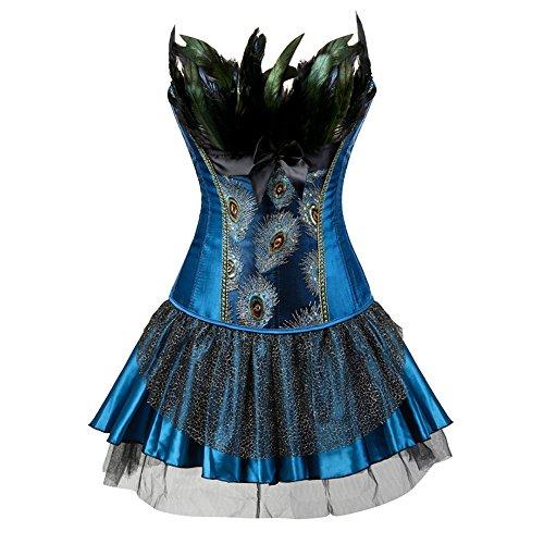 FeelinGirl Vintage Gótico Corsé Pavo Real Bustier con Falda para Mujer Fiesta Corset 3 Piezas Disfraz Sexy Vestido con Tanga Azul XL/Talla 42