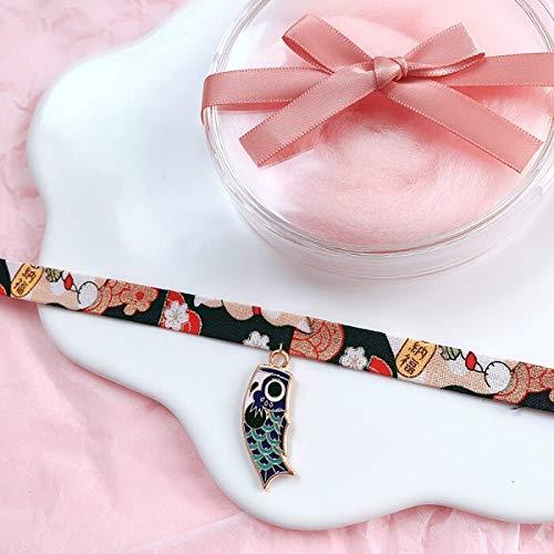 Dfgh Klassieke Japanse stijl lint Rope Doll Choker schattige romantische Dames Meisjes Bird Cat Carp hanger korte ketting Jewelry (Metal Color : 6)