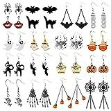 18 pares de aretes de Halloween con diseño de calabaza y araña de Halloween para mujer, fiesta de Halloween