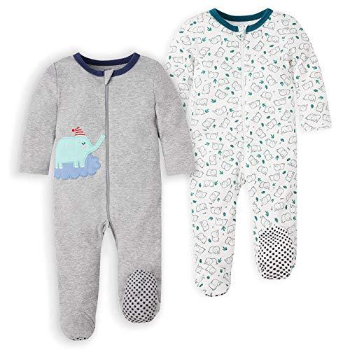 Froerley Baby Boy's 2-Pack de Dormir y Jugar Body de Manga Larga Cremallera de algodón con pies Durante 0-24 Meses