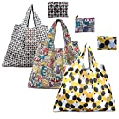 Reusable Shopping Bags Pack of 3 Set - Eco-Friendly Foldable Grocery Bags Set for Shopping Organizing (Dog Cat Owl 2)
