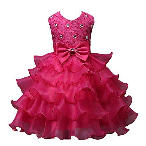 Vovotrade voor 2 tot 7 jaar oude meisjes meisjes jurk kinderen ruches kant party bruidsjurken (maat: 2-3 jaar oud)