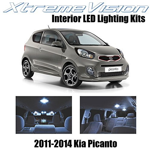XtremeVision LED for Kia Picanto 2011-2014 (4 Pieces) Cool White Premium Interior LED Kit Package + Installation Tool