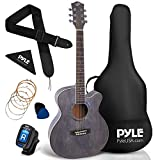 Pyle 36' Cutaway Acoustic Guitar-3/4 6 Steel Linden Wood Matte Finish Guitar w/Gig Bag, Tuner, Extra Strings, Picks, Strap, Junior Size for Beginners, Adults, Right (PGA550CAB)