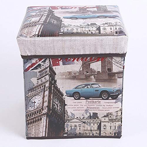 MIDUO British Retro Straw Multifunctional Coating Film Storage Box Can Sit Folding Stool Covered Storage Box Huanxie,Car Clock,30 * 30 * 30