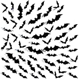 60 pz adesivi 3D della parete di Halloween, Halloween Pipistrelli Decorazioni Murali Carta da parati estraibile,Decalcomanie a muro, Adesivi per finestre, Halloween Terrore