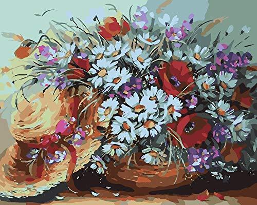 Pintura por números para Adultos niños y Principiantes Pintura por números en Lienzo - Flores Zou Ju 40x50cm