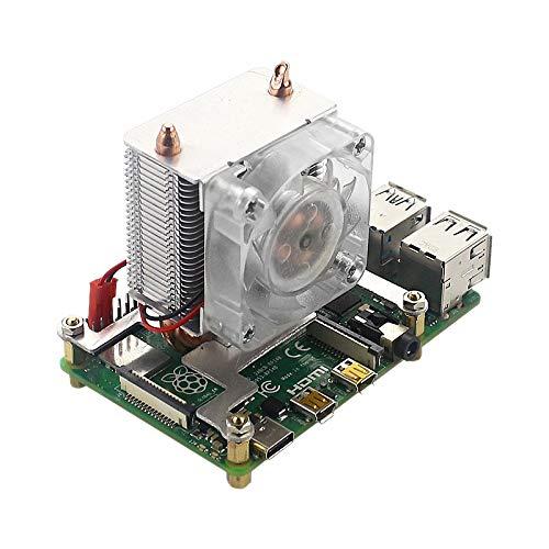 Nrpfell Ventilador de Enfriamiento de la Torre DisipacióN de Calor SúPer Ventilador de Luz de 7 Colores con Disipadores de Calor para Raspberry Pi 4B/3B+/3B