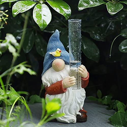asiproperuk Pluviómetro de jardín, lluvia de plástico, pluviómetro de resina con gebin,...
