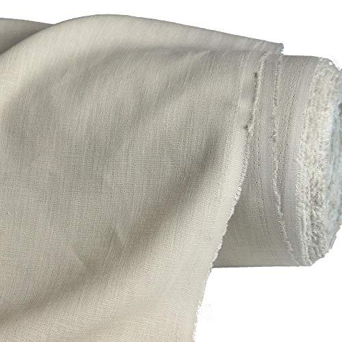TOLKO 50cm Leinen-Stoff als Meterware | blickdichter Naturstoff | für Hose Rock Bluse Kleider Gewänder | fein gewebter Dekostoff für Vorhänge Gardinen und Dekorationen | 140cm breit (Natur Beige)