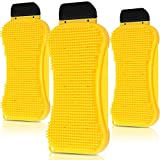 3 Packs 3-in-1 Silicone Sponge Silicone Kitchen Scrubber Multi-Functional Silicone Sponge Scraper Cleaning Brush Dish Brush Wash Cleaning Tool for Kitchen Bathroom (Yellow)