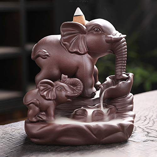 Voluxe Soporte de Incienso con Forma de Elefante, Quemador de Incienso de reflujo de cerámica Soporte de Incienso de cerámica 4.5 X 4.9 X 3.9in para meditación para Yoga para decoración de SPA
