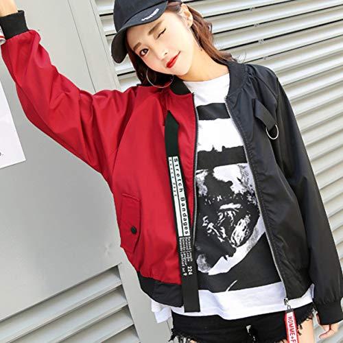 Banbie8409 Kurze Jacke Frauen Neue koreanische Version Lose Harajuku Color Baseball Jacke
